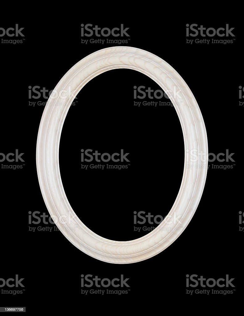 White Oval Picture Frame, Black Isolated stock photo