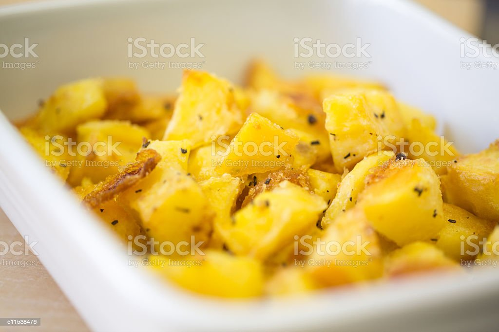 White Oven Pan with Roasted Potatoes stock photo