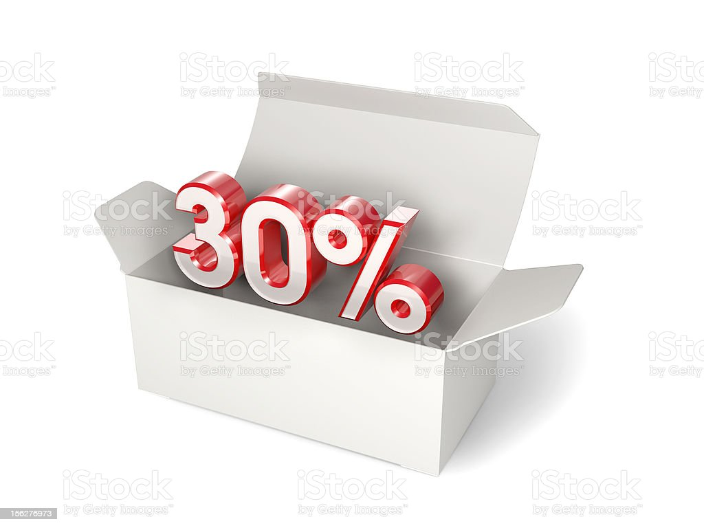 White package with 30% discount sign. Sale concept royalty-free stock photo