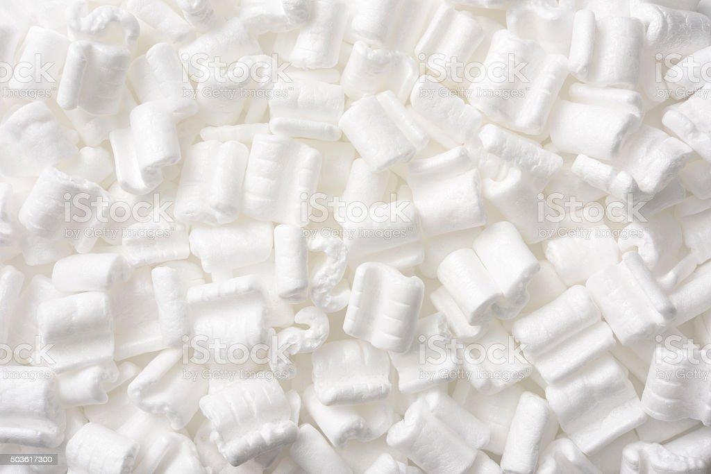White packing peanut texture background stock photo