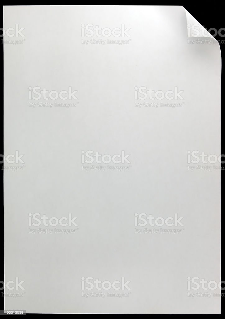 White Page Curl Copy Space, blank, empty, isolated on black royalty-free stock photo