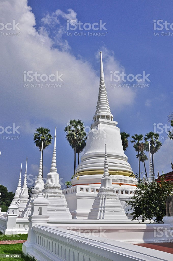 White Pagoda at Wat Suwandararam Temple royalty-free stock photo