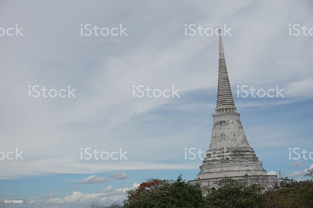 White Pagoda Mountain Thailand Phetchaburi stock photo