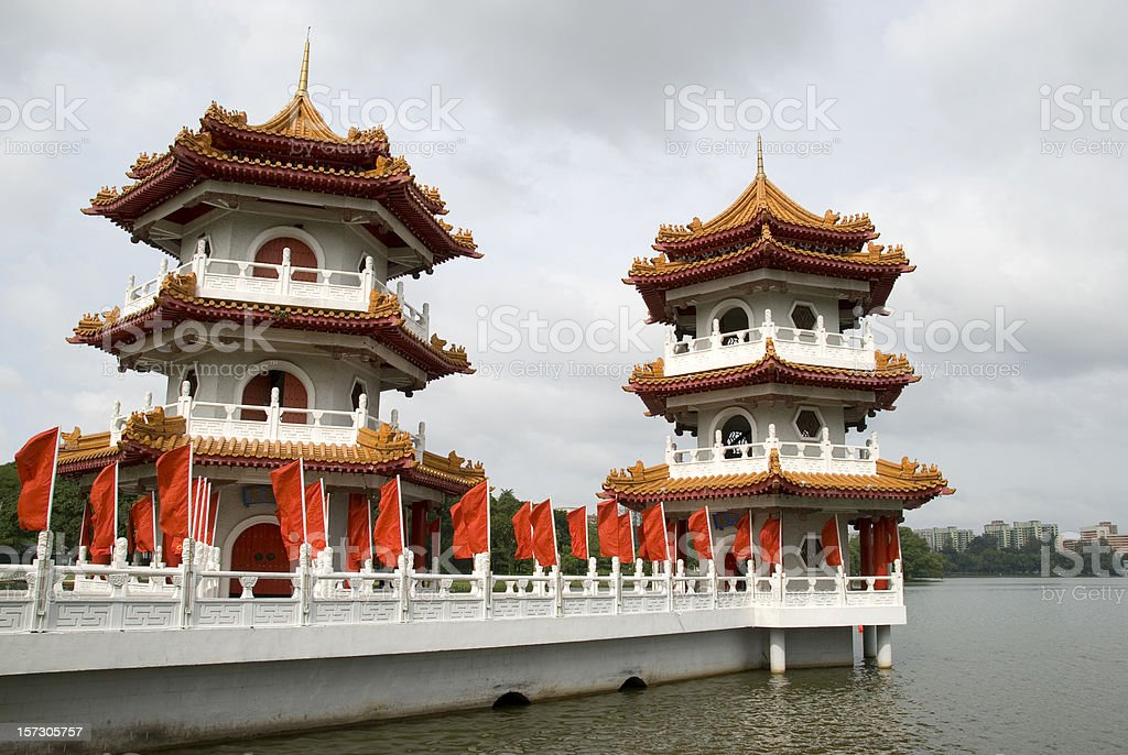 White pagoda with Red Flags royalty-free stock photo