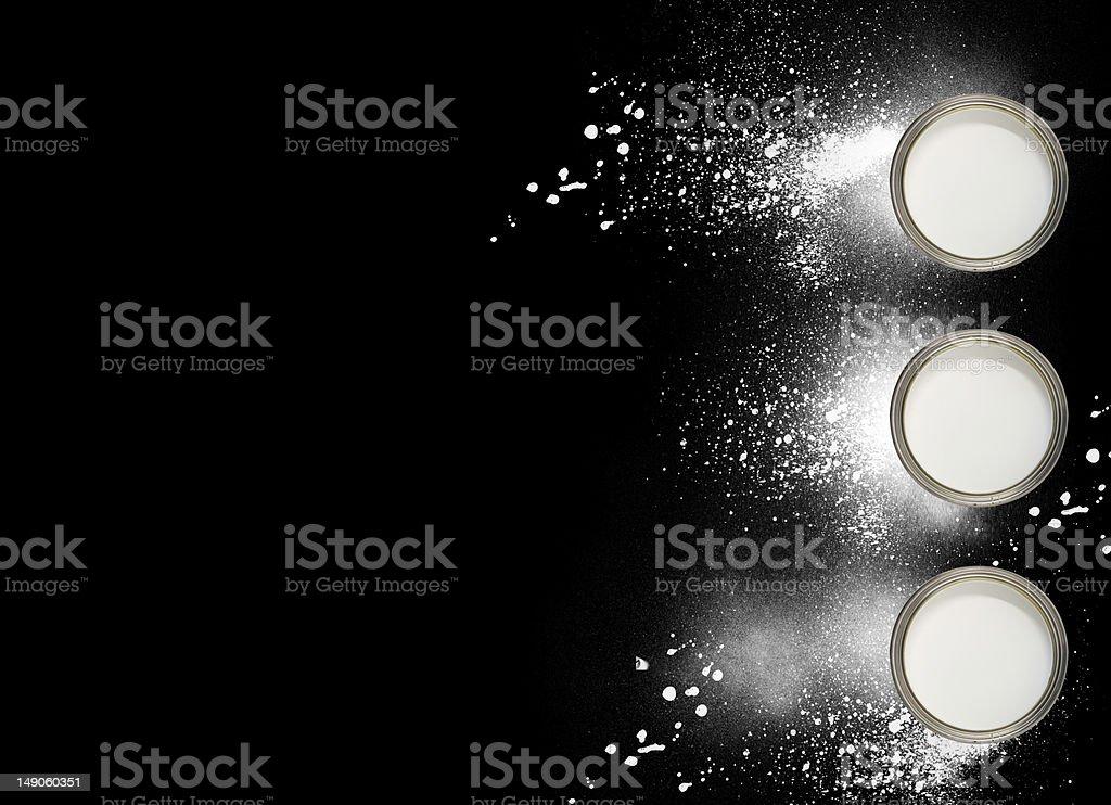 White paint on black background stock photo