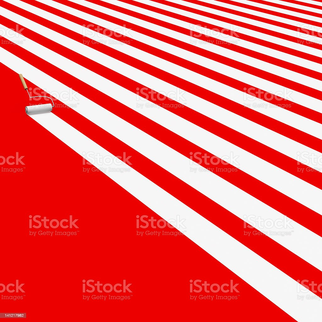 3D White Paint roller on Red royalty-free stock photo