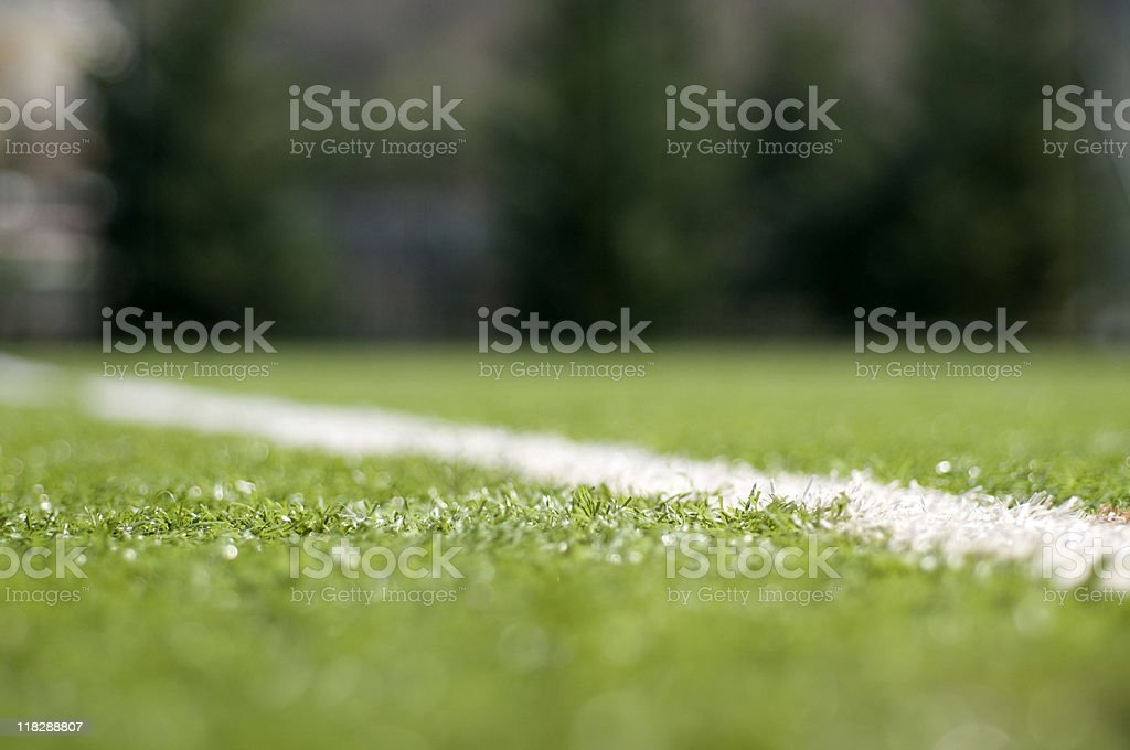 White painted line on a football pitch, Turkey, Istanbul royalty-free stock photo