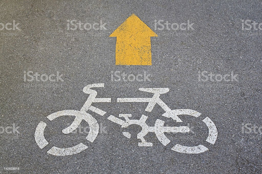 white painted sign for bikes lane royalty-free stock photo