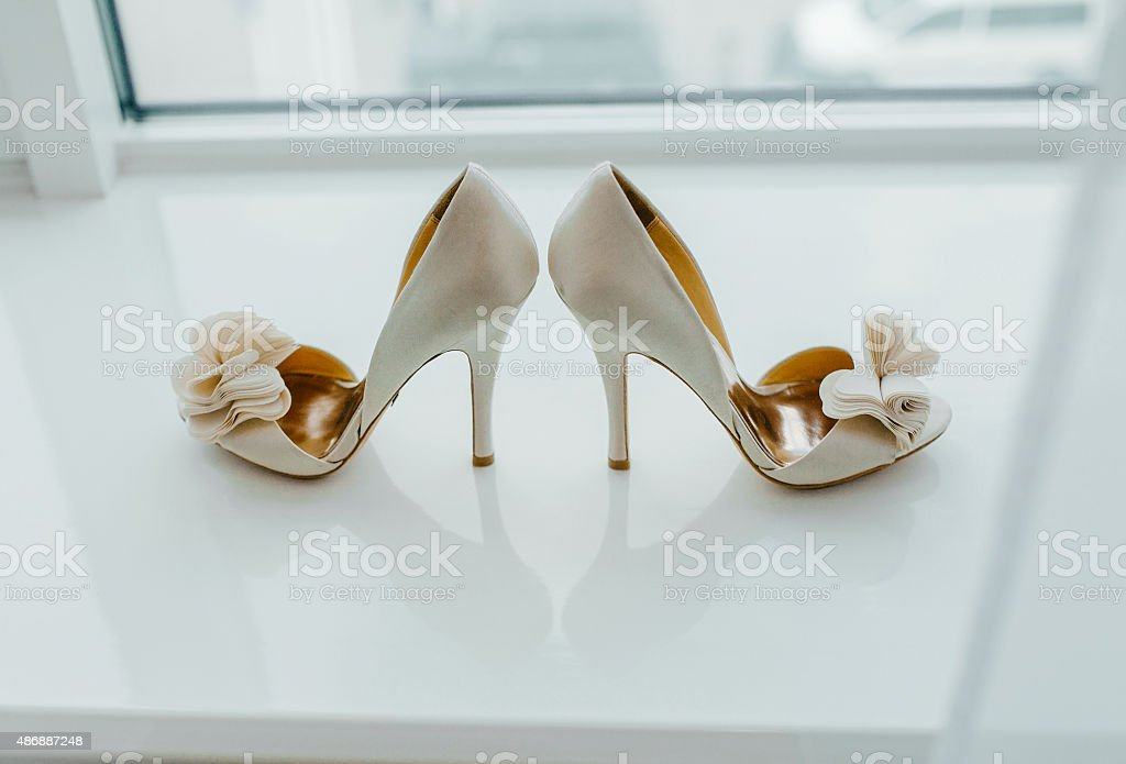 White pair of shoes stock photo