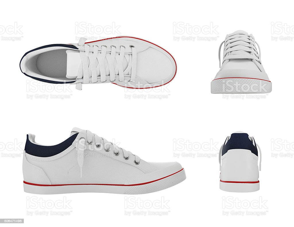 White pair of sport sneakers from four side stock photo