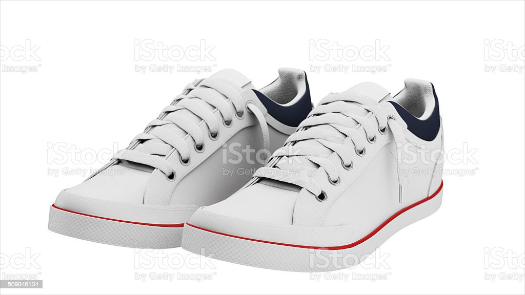 White pair of sport sneakers stock photo