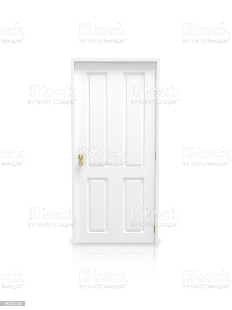 White panel door with gold knob on a white background stock photo