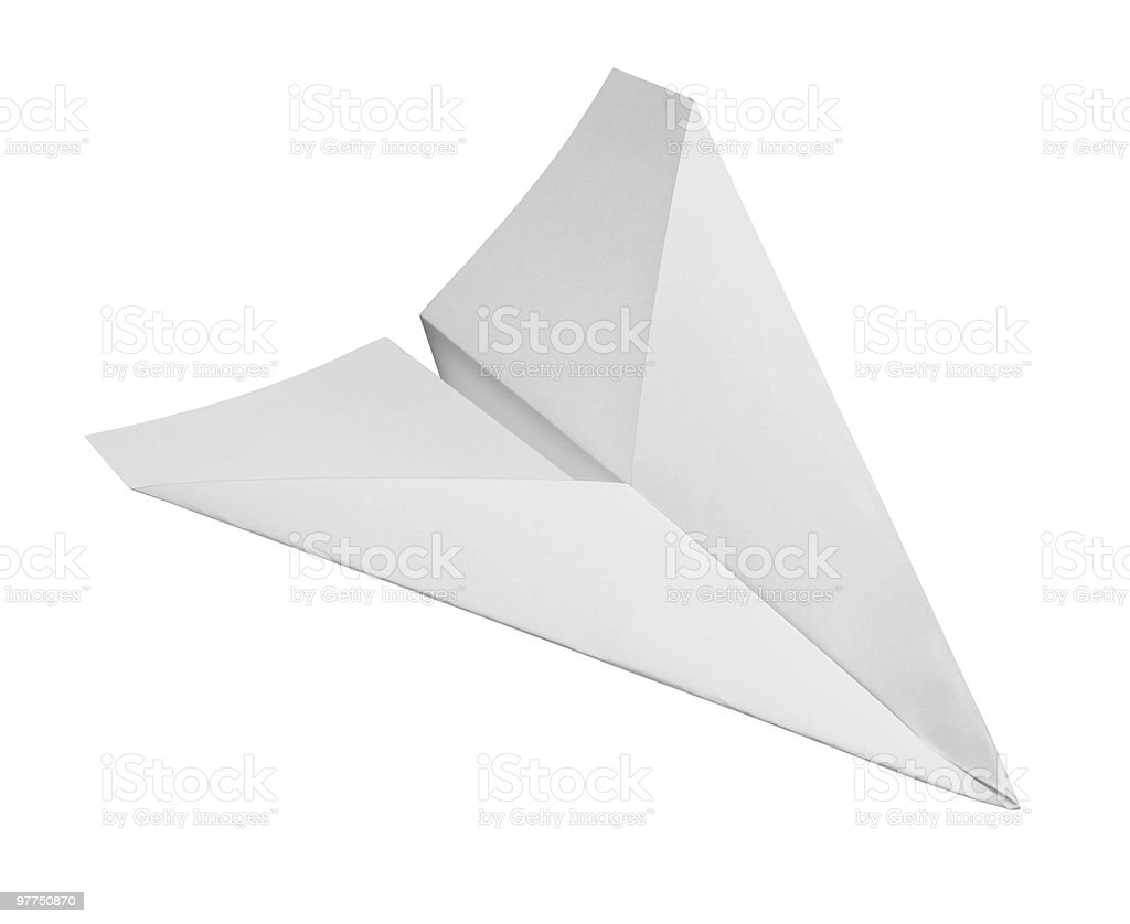 White paper airplane drawing on a white background stock photo