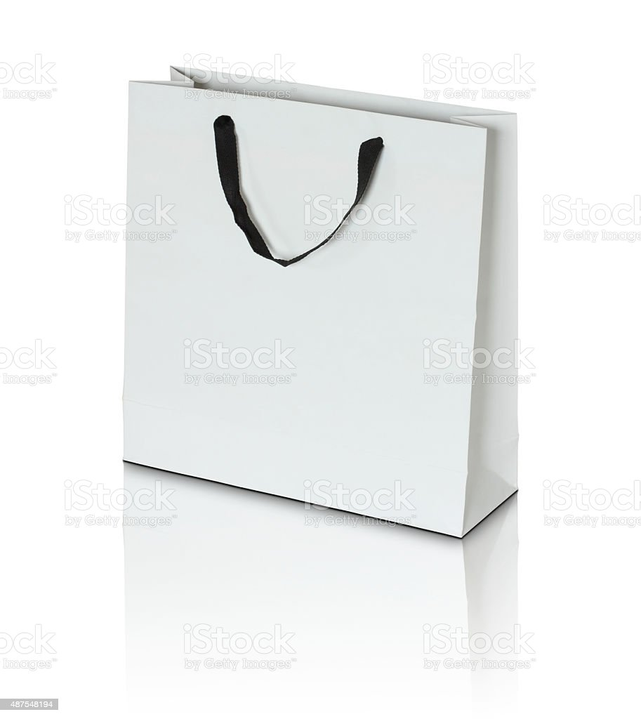 White paper bag stock photo