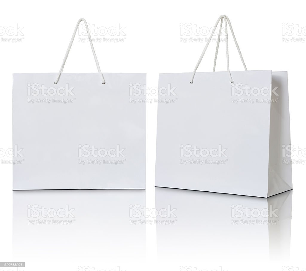 white paper bag stock photo