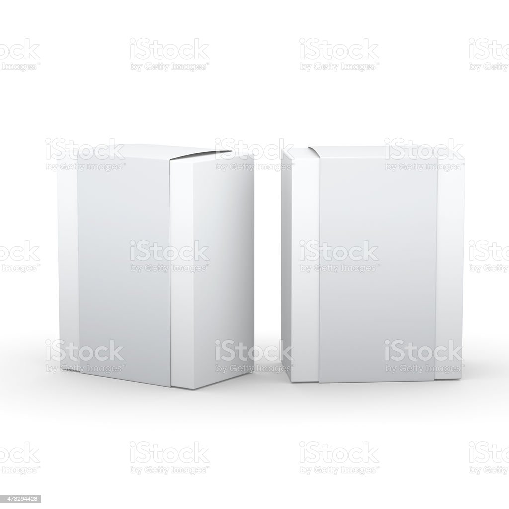 White paper box with gray wrap packaging stock photo