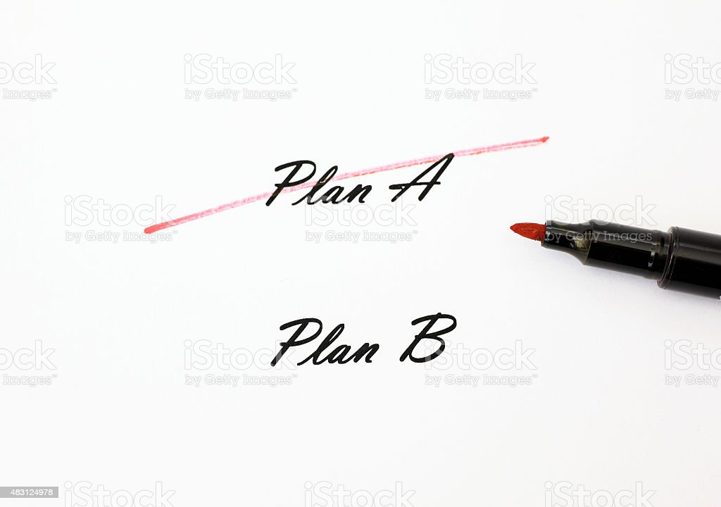 White paper, crossed out Plan A, Plan B, pencil stock photo