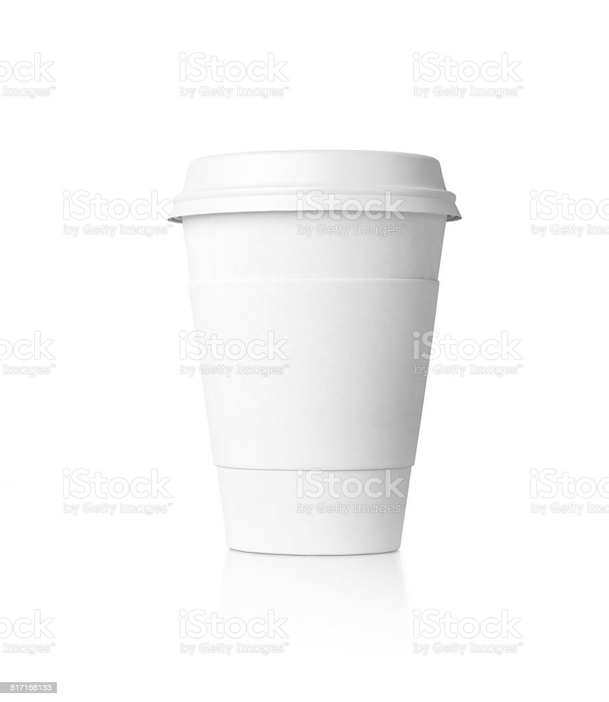 White paper cup isolated stock photo