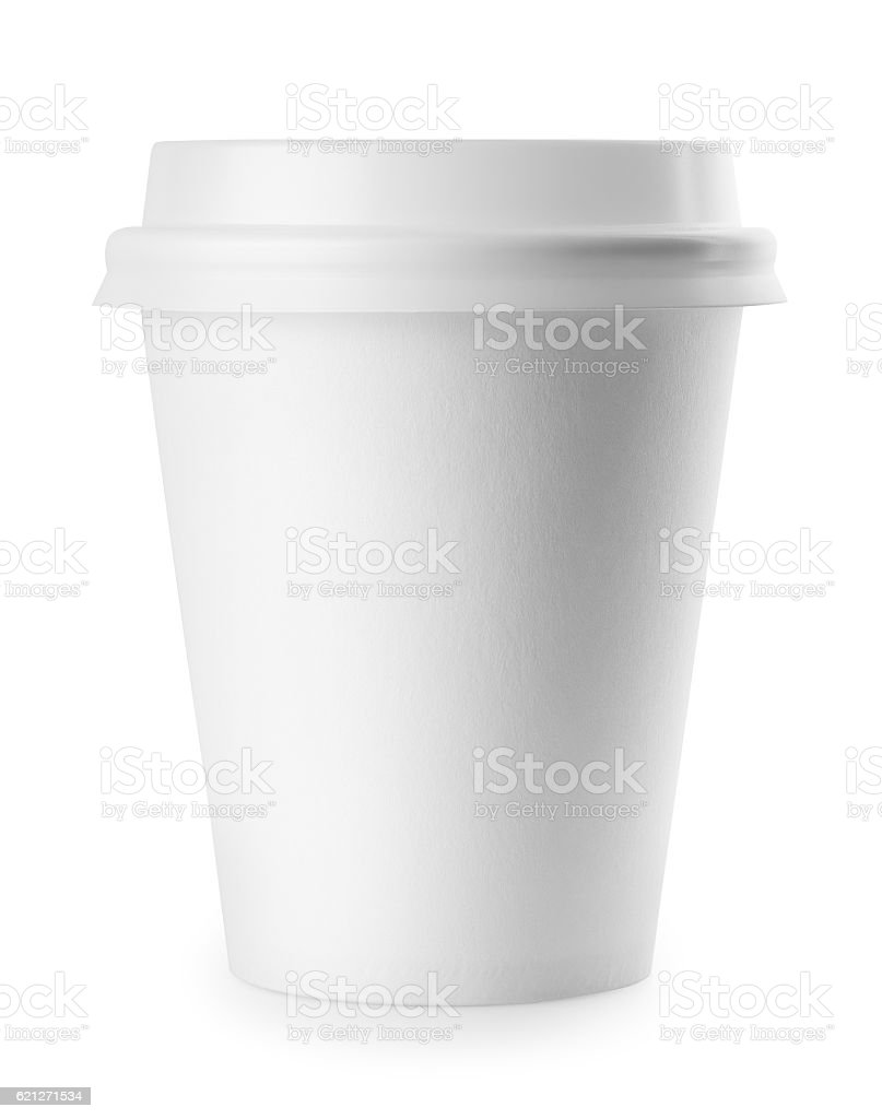 White paper cup with lid stock photo