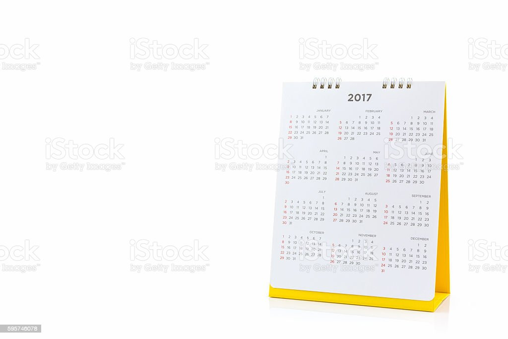 White paper desk spiral calendar 2017. stock photo