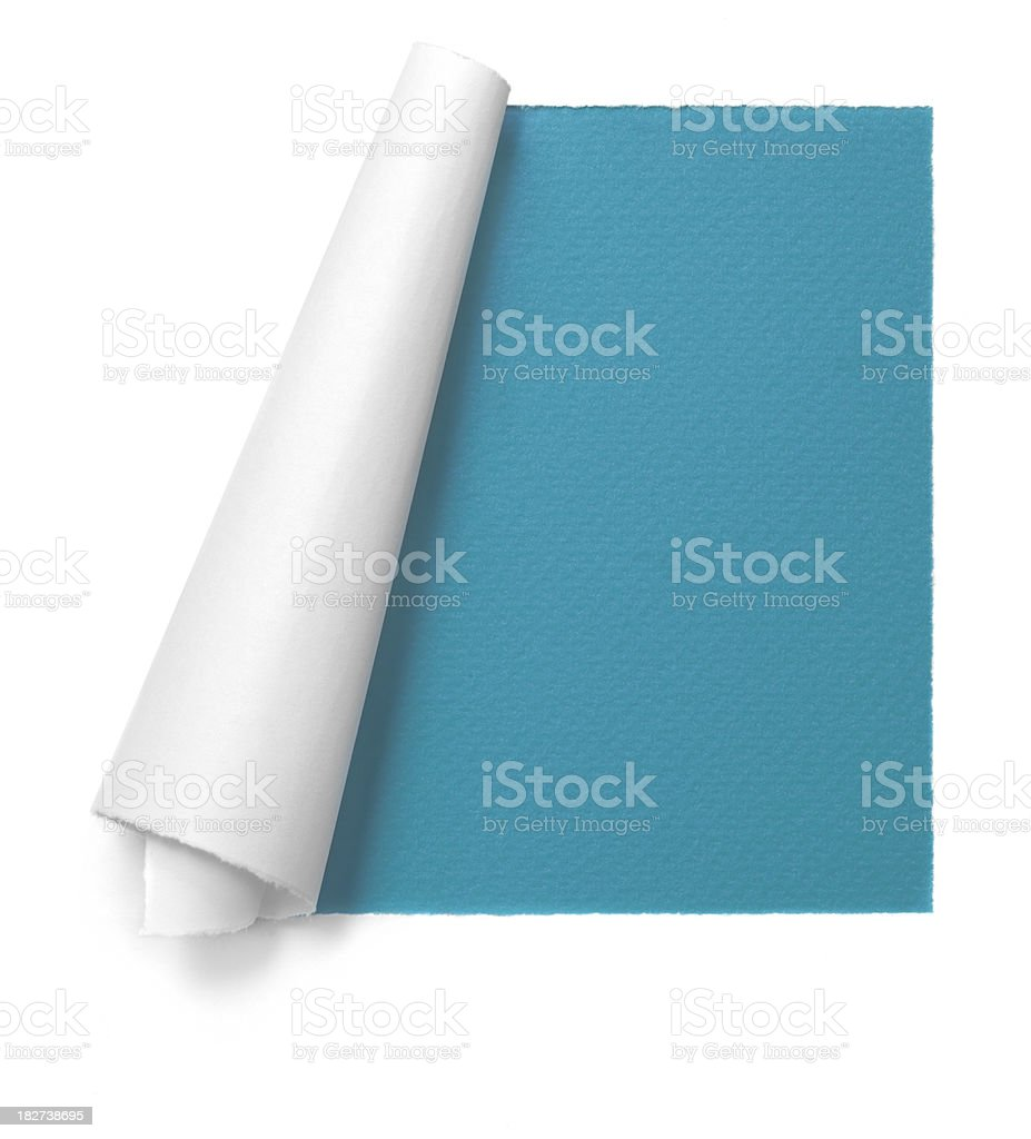 White paper frame on cyan background stock photo
