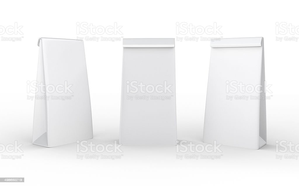 White paper lunch  bag  with clipping path vector art illustration