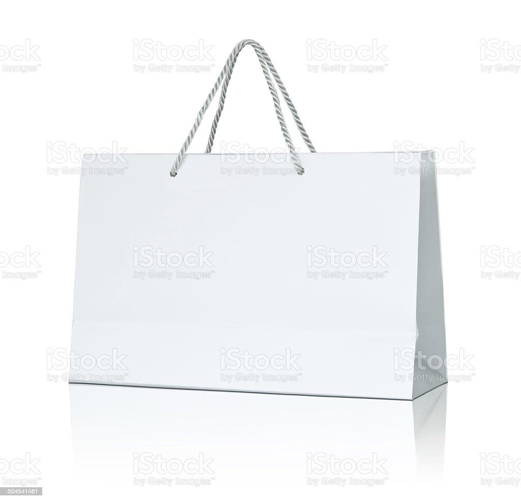White paper shopping bag stock photo