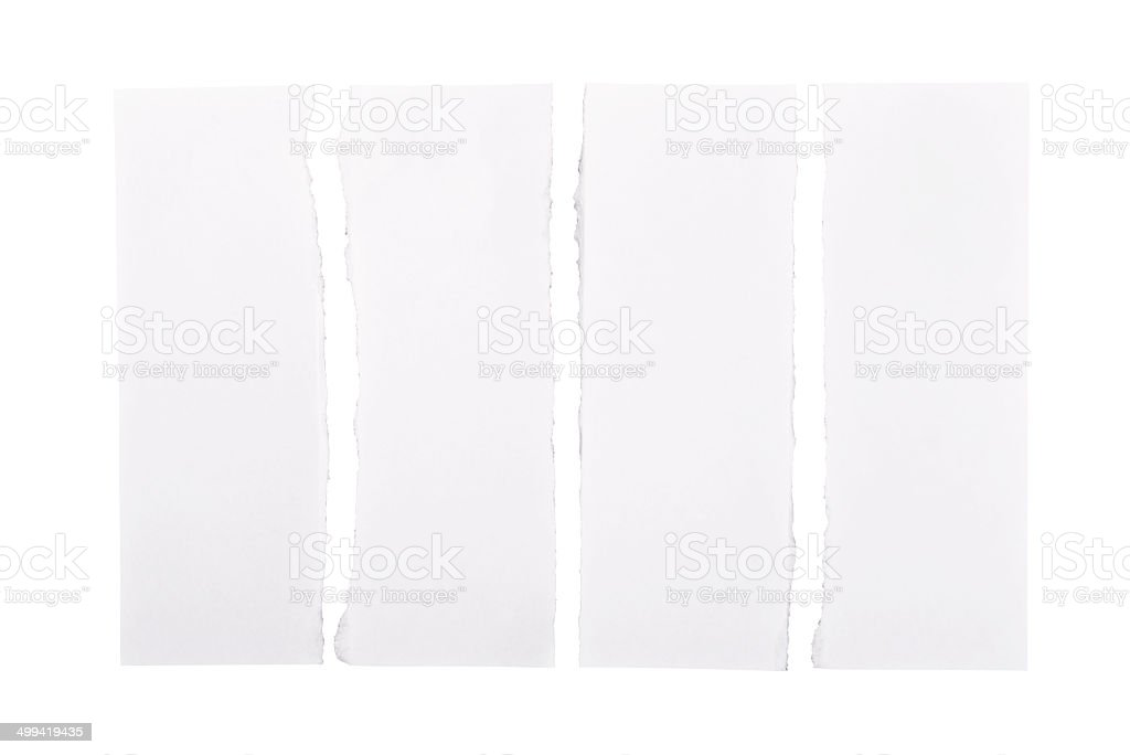 White paper strips turn apart stock photo