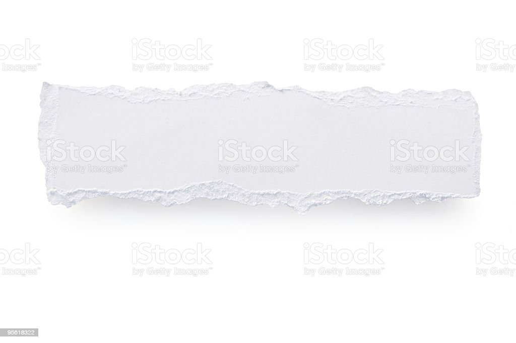 White paper torn in the shape of a long rectangle  royalty-free stock photo