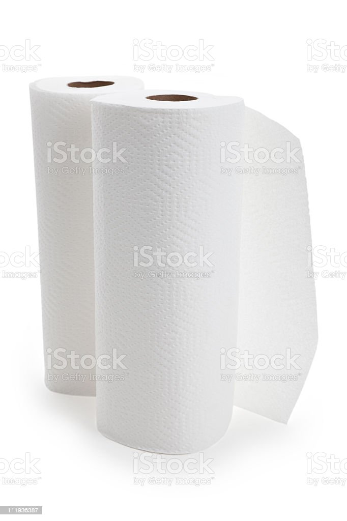 White paper towel rolls against white background royalty-free stock photo