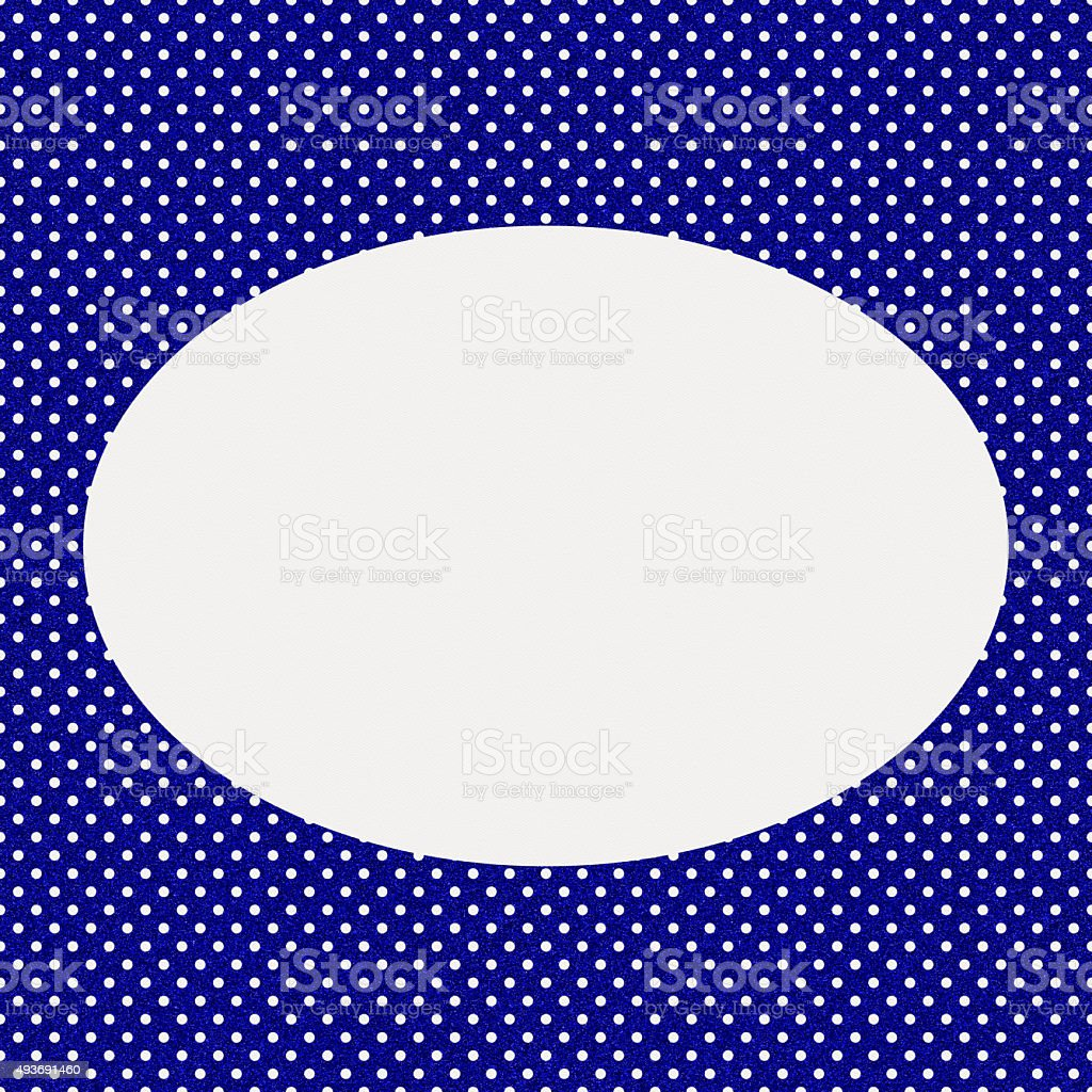 White paper with blue glitter oval frame stock photo
