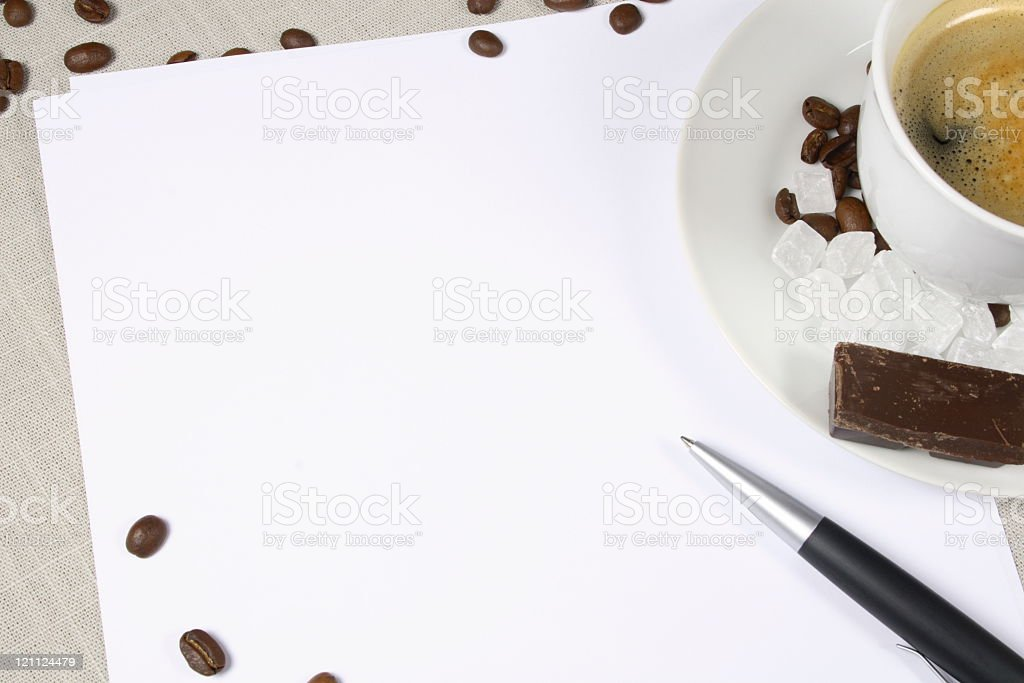 White Paper with Coffee royalty-free stock photo