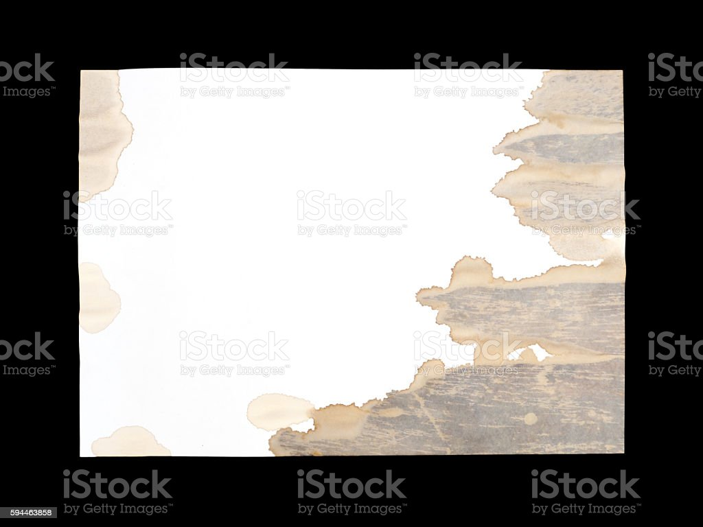 white paper with stain of coffee spilled out stock photo