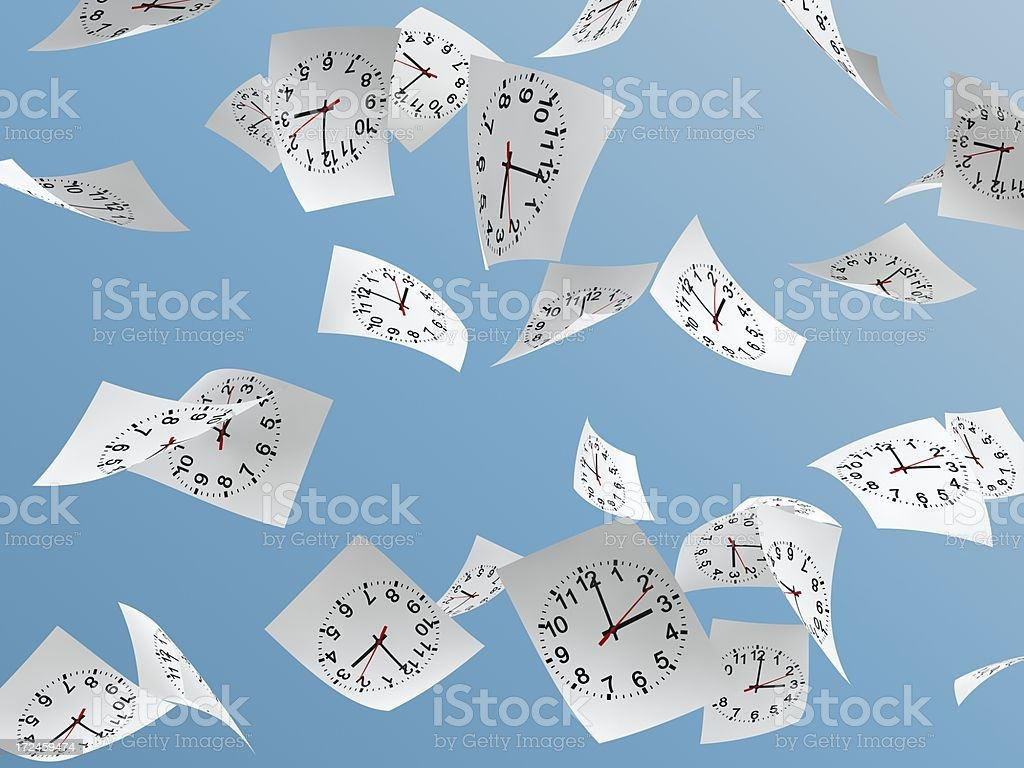 white papers with  clock face stock photo