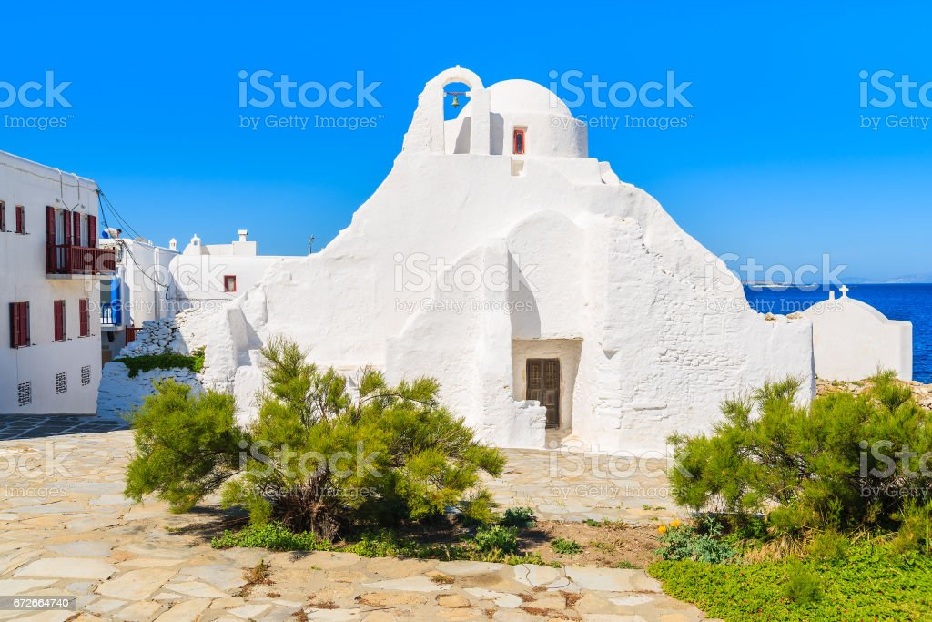 A white Paraportiani church in Mykonos town, Cyclades islands, Greece stock photo