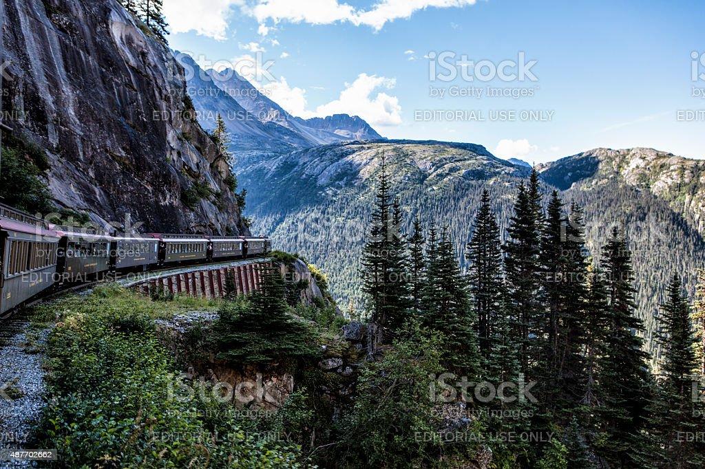 White Pass and Yukon RR Traveling to Skagway, Alaska stock photo