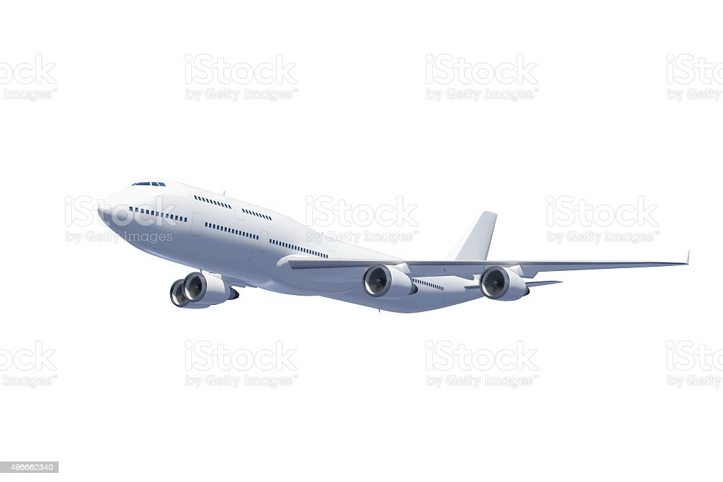 White passenger airplane isolated on white background with clipping path stock photo