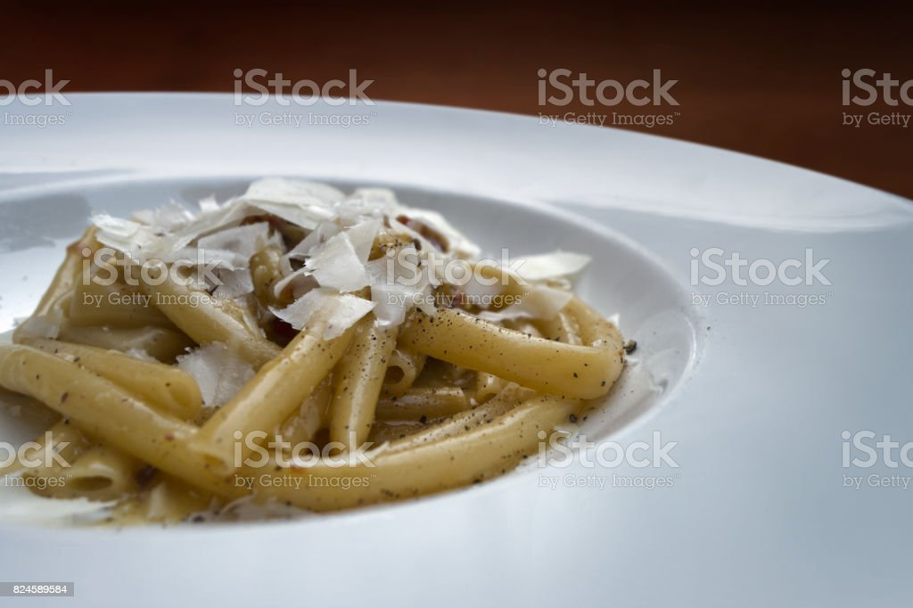 white pasta dish with cheese stock photo