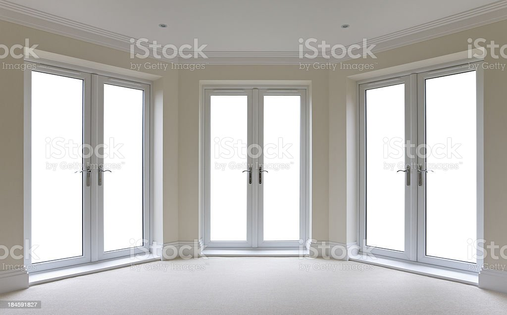 white patio door windows isolated stock photo