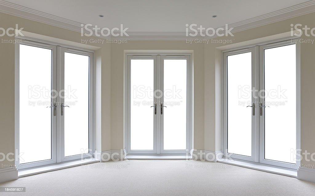 white patio door windows isolated stock photo