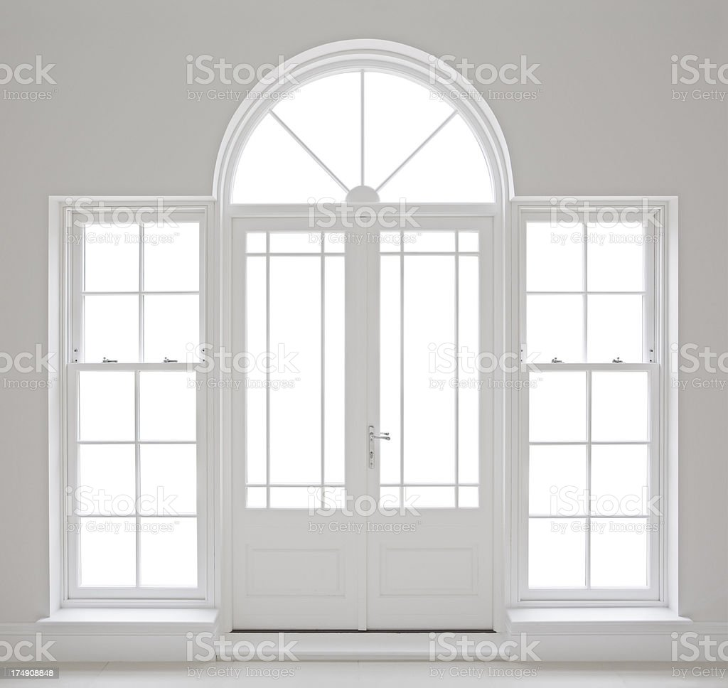 white patio doors with clipping path stock photo