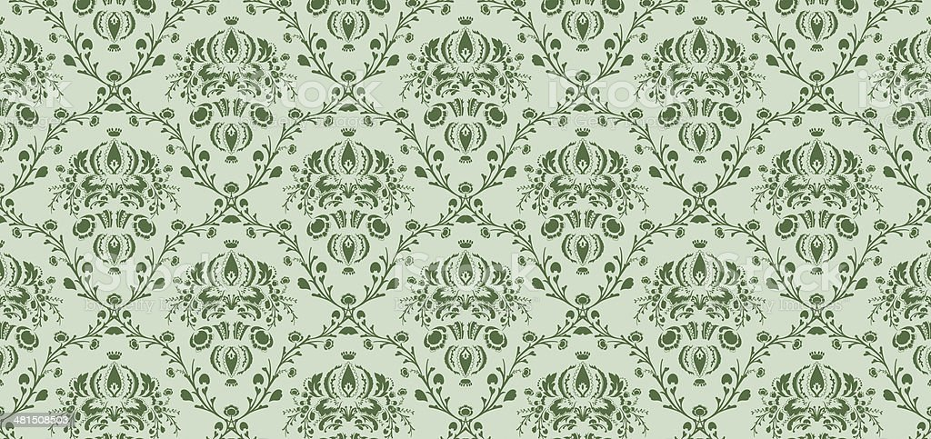 White patterned leaves on green fabric royalty-free stock photo