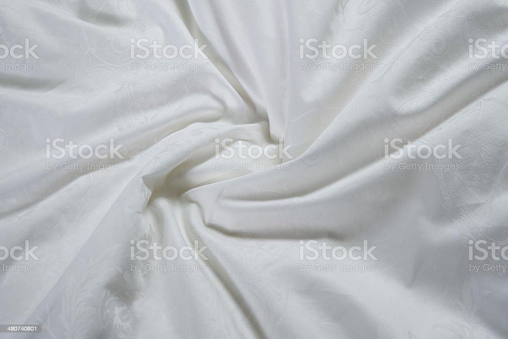 white patterned silk closeup stock photo