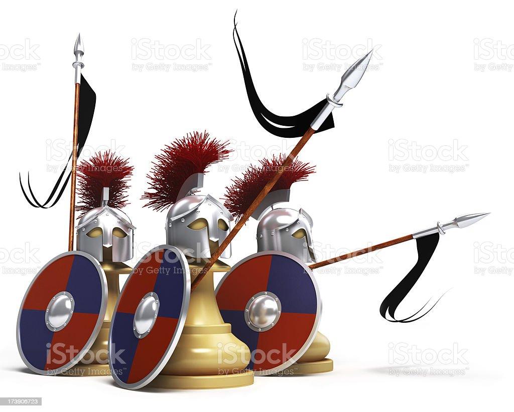 white pawns warriors stock photo