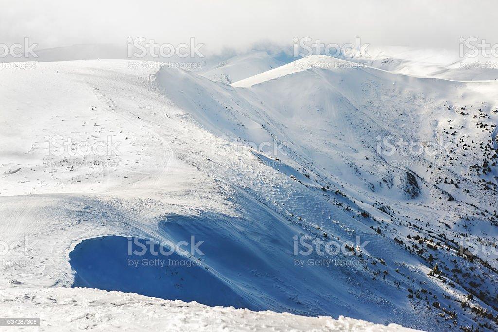 White peaks mountains of Dragobrat.The west Ukraine. stock photo