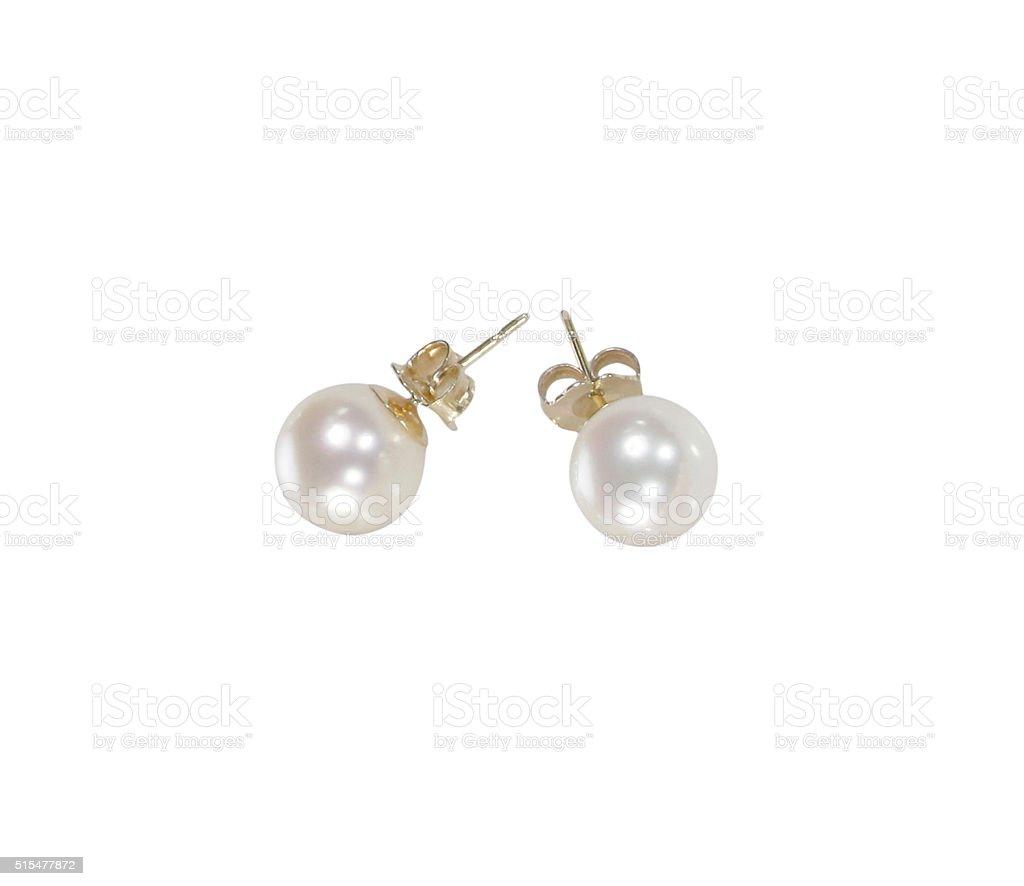 White pearl earrings stock photo