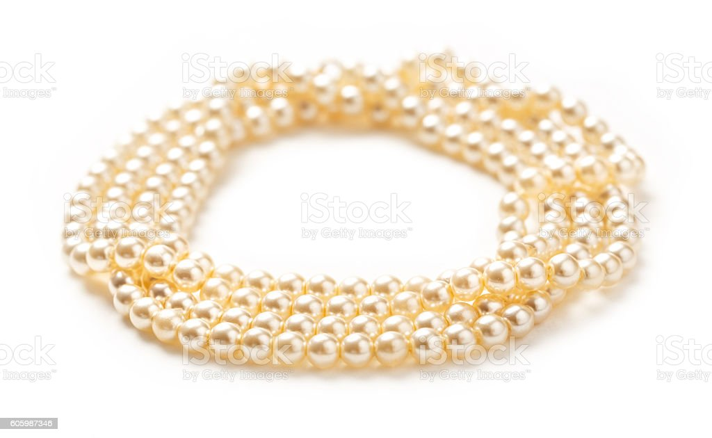 White pearl necklace of many strings stock photo