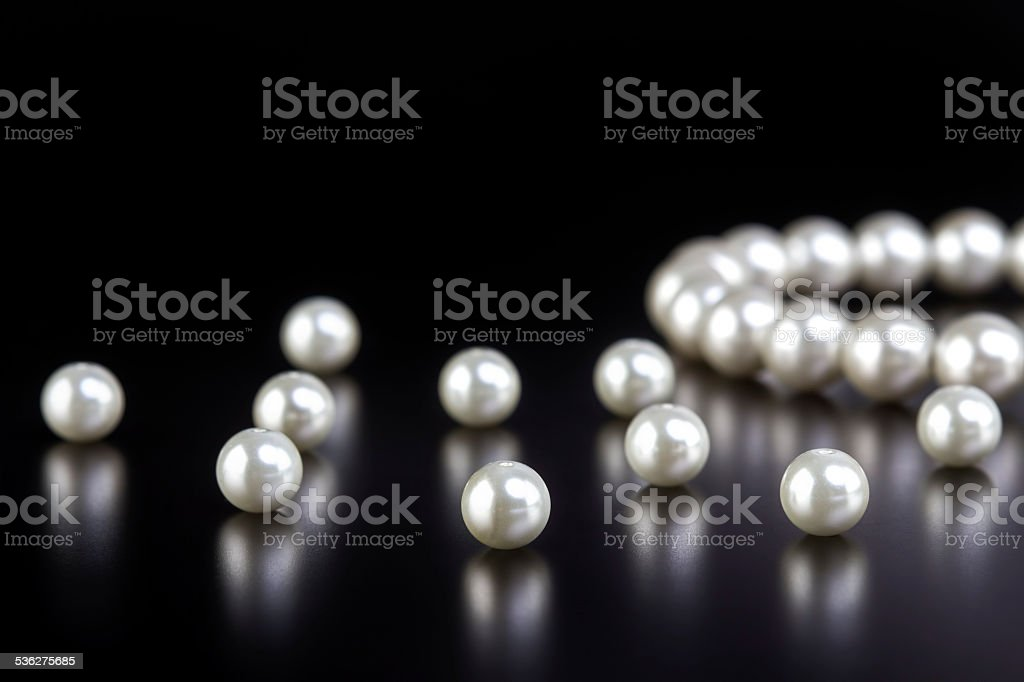 white pearls necklace stock photo