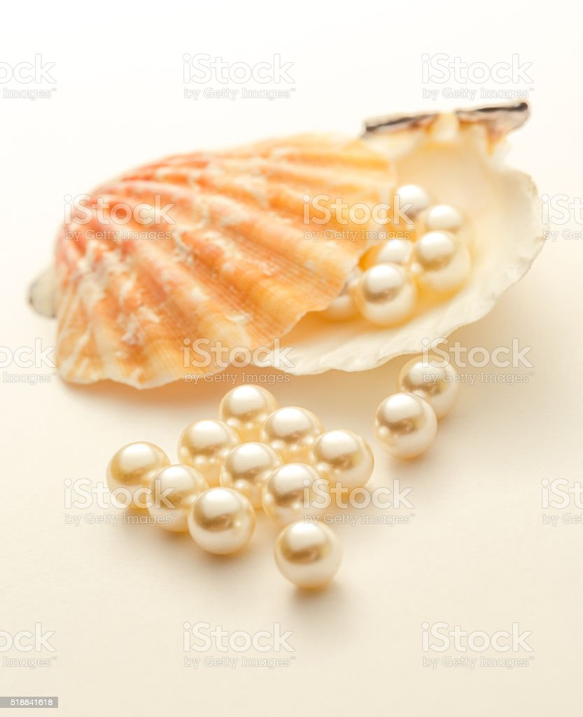 White pearls stock photo