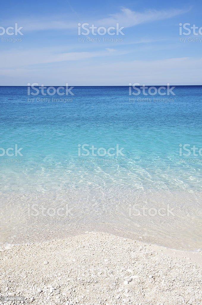 White Pebble Greek Beach Turquoise Blue Mediterranean Sea stock photo